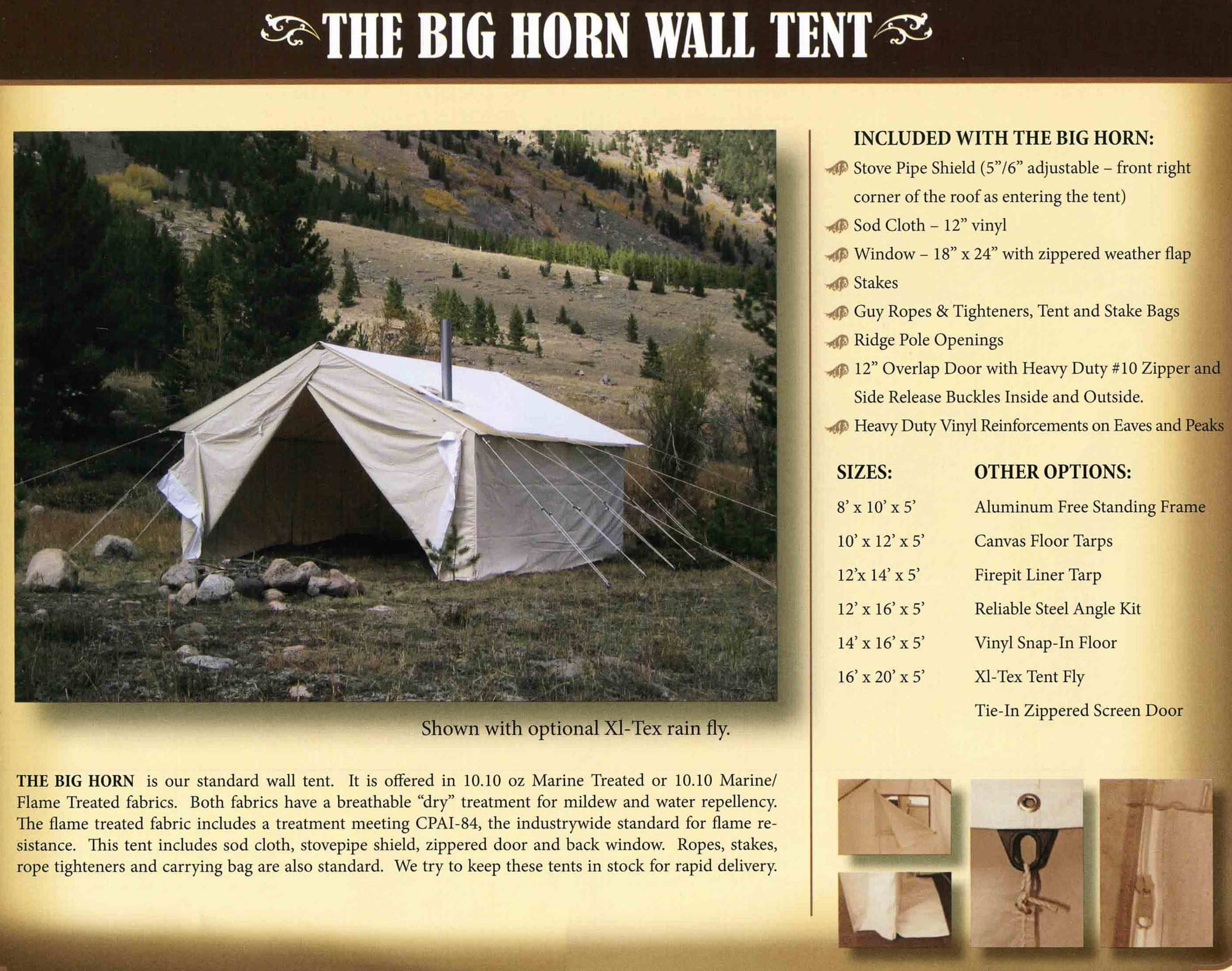 click here to inlarge Bighorn tent options. xxxxxxxxxxxxxxxxxxxxxxxxxxxxxxxxxxxxxxxxxxxxxxxxxxx & Moab Outback Wall tents for saleBig Horn Wall Tent